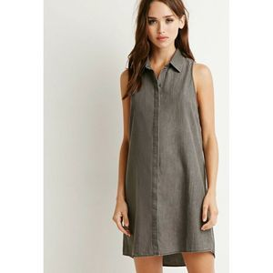Forever 21 Chambray Shirt Dress Large Button Front